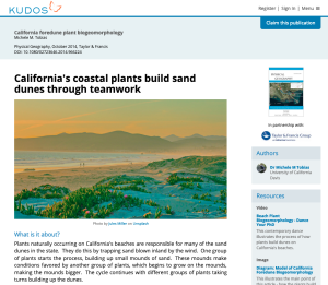 California's coastal plants build sand dunes through teamwork - featured image on Kudos