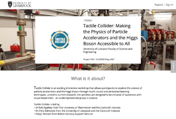 Kudos Pro project profile page for the University of Liverpool's Tactile Collider workshop project