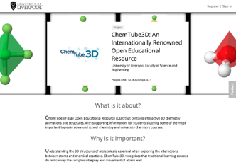 Kudos Pro project profile page for the University of Liverpool's ChemTube3D resource
